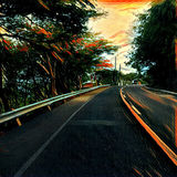 Digital illustration - The road, sunset colors. Sunset highway image with curved asphalt highway Royalty Free Stock Images