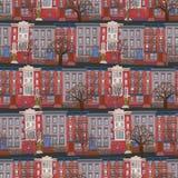 Digital illustration Sömlös modell av flervånings- byggnad med träd som gatateckning i ungestätta royaltyfria bilder