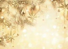 Free Digital Illustration, Sparkling Golden Festive Background, Bokeh Lights, Vintage Christmas Tree Ornaments, Gold Balls, Stars, Win Stock Photography - 105049922