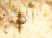 Digital illustration, sparkling golden festive background, bokeh. Lights, vintage Christmas tree ornaments, gold balls, stars, winter holiday greeting card Stock Photography