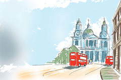 Digital illustration St Paul Cathedral London UK Royalty Free Stock Images