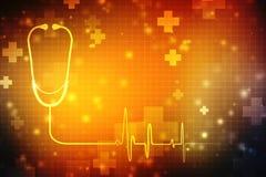 digital illustration of stethoscope in medical background stock photo