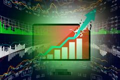 Digital illustration of Stock market business graph. In color background Royalty Free Stock Photo