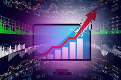 Digital illustration of Stock market business graph. In color background Royalty Free Stock Images