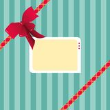 Digital Illustration of a Striped Gift Wrap Paper Plus a Red Ribbon and a Tag Stock Photo