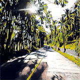 Digital illustration - Sunny day, tropical forest road, yellow color and black ink. Stock Photos