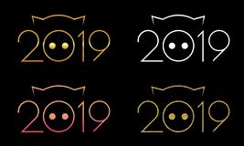 Digital illustration of symbol of 2019, isolated on black background stock illustration
