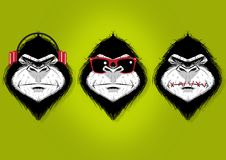 No Evil. Digital illustration of three gorillas, hear no evil, see no evil and speak no evil Royalty Free Stock Photos