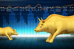 Trading and investing financial symbol with bull. Digital illustration of Trading and investing financial symbol with bull Royalty Free Stock Photos