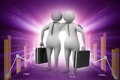 Two business people with briefcase. Digital illustration of Two business people with briefcase Stock Photo