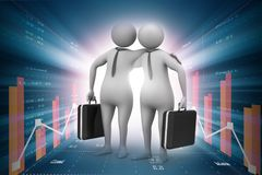 Digital illustration of  Two business people with briefcase. Digital illustration of  Two business people  in color background Stock Images