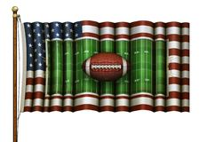 American Football Field - US Flag Composite With Football in Front – 3D Illustration royalty free illustration