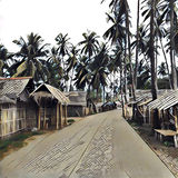 Digital illustration, village in jungle. Wooden house with leaf roof and tall coco palm tree Royalty Free Stock Images