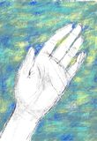Digital illustration of a woman`s left hand on blue-green backgr. Hand drawn digital illustration of a woman`s left hand, in black pencil on blue and green stock illustration