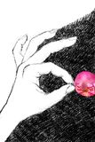 Digital illustration of a woman`s left making an OK sign, with p. Hand drawn digital illustration of a woman`s left hand, making a OK sign, holding a pink petal stock illustration