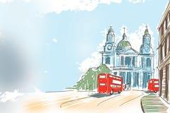Digital illustrationSt Paul Cathedral London UK Royaltyfria Bilder