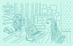 Digital illustrator at work in home workspace. Stock Images