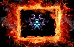 Digital Image of an Alien Entity Surrounded by Fire. A digital image of an alien entity in space surrounded by fire vector illustration