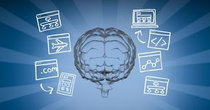 Digital image of brain surrounded with various symbols against blue background. Digital composite of Digital image of brain surrounded with various symbols Stock Photo