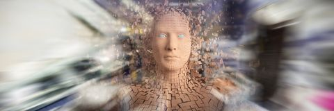 Composite image of digital image of brown pixelated 3d man. Digital image of brown pixelated 3d man against electronic circuit board with processor Stock Images