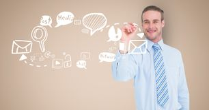 Digital image of businessman drawing symbols against beige background. Digital composite of Digital image of businessman drawing symbols against beige background Stock Photography