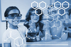 Composite image of digital image of chemical structure Stock Photo
