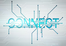 Digital image connect word concept with circuit microchip. Abstract digital image connect word concept on circuit microchip background Stock Image