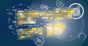Digital Image Of Digital Files And Statistical Symbols. Digital composite of Digital Image Of Digital Files And Statistical Symbols stock illustration