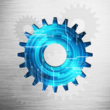 Digital image gear picture concept with circuit microchip. Abstract digital image work gear icon picture concept with circuit microchip background on polish Royalty Free Stock Images