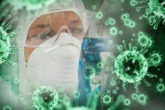 Composite image of digital image of green virus Royalty Free Stock Photography
