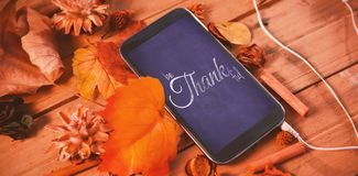 Composite image of digital image of happy thanksgiving day text greeting royalty free illustration