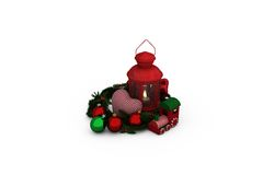 Digital image of lantern with Christmas accessories Royalty Free Stock Images