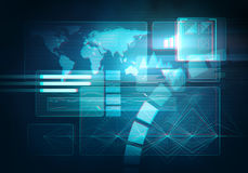 Digital image technology HUD interface concept. 3d stereo effect. Abstract digital image technology interface concept witn circuit microchip background. Virtual Royalty Free Stock Photos