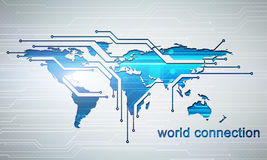 Digital image world connection concept with circuit microchip Royalty Free Stock Photo