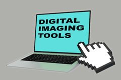 Digital Imaging Tools concept. 3D illustration of DIGITAL IMAGING TOOLS script with pointing hand icon pointing at the laptop screen Stock Photo