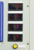 Digital indicators on electrical control panel Royalty Free Stock Images