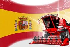 Agriculture innovation concept, red advanced grain combine harvester on Spain flag - digital industrial 3D illustration. Digital industrial 3D illustration of vector illustration