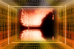 Digital, industrial war concep royalty free illustration