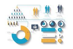 Digital infographic frambragd blå och orange affär Royaltyfri Fotografi