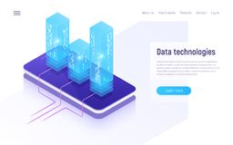 Digital information technologies, networking, data processing, c. Loud storage isometric concept. Vector illustration vector illustration