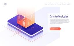 Digital information technologies, networking, data processing isometric concept. Vector illustration royalty free illustration