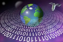 Digital information technology. Ring made of binary code around Earth and satellite above it stock illustration