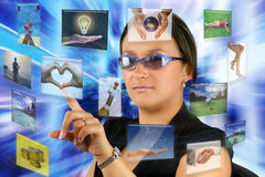 Digital informations. Woman surrounded by digital informations Royalty Free Stock Photos