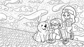 Two urban girls and a chow chow dog in front of a graffiti wall – black & white version. Digital ink illustration of two urban girls and a chow chow dog Royalty Free Stock Photography