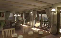 Digital-Innenraum eines Landhauses Stockbild