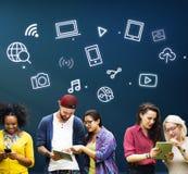 Digital Innovate Electronics Network Concept. People Using Digital Innovate Electronics Stock Photo