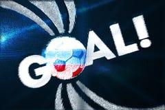 Digital inskriftmål med en fotboll och flaggan av Ryssland royaltyfri foto