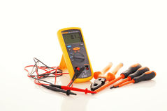 Digital insulation resistance tester. A set of electronic tools. It is digital insulation tester, set of screwdriver and wire cutter stock images