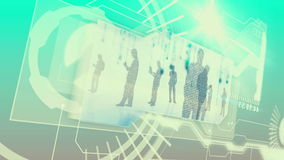 Digital interface with business people silhouette stock footage