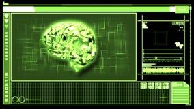 Digital interface featuring revolving brain stock footage